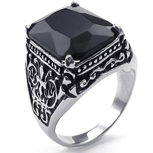 Aienid Herren Ringe Edelstahl Ringe (Vintage Ringe) Retro Drachen Schwarz Silber Gr.65 (20.7) Schmuck