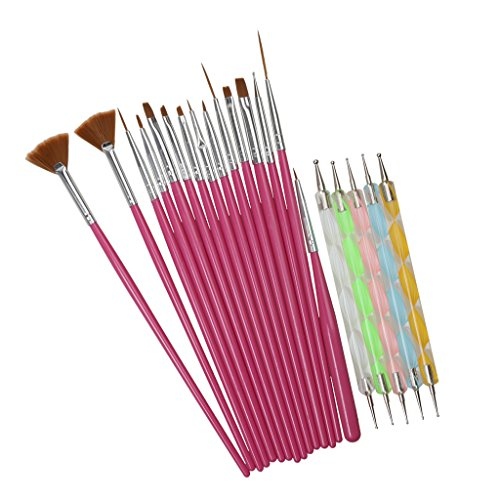 Generic 20 PC Nail Brush Pen Design Dotting Art Polish Painting Pen Set Coffee Hair  available at amazon for Rs.295