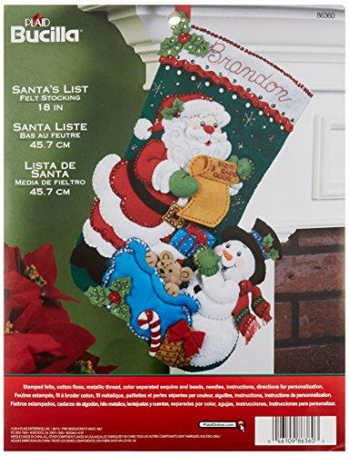 Bucilla Santa 's List Weihnachtsstrumpf-Applikation aus Filz (Weihnachtsstrumpf Filz Kit)
