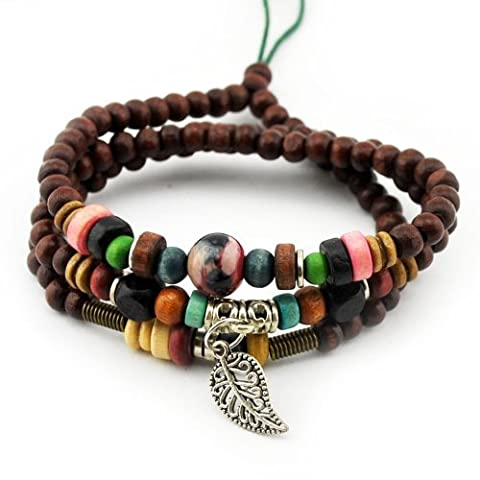 November's Chopin (TM) Unique Leaf Pendant Wood Beads Charm Adjustable Wrap Bracelet Necklace ... by November's Chopin