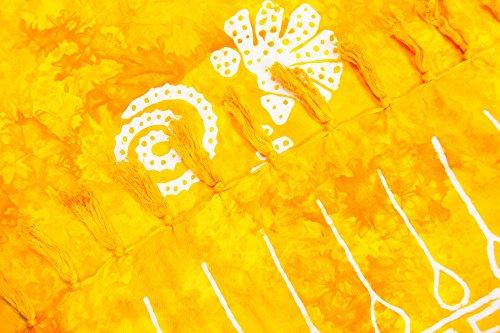 ManuMar Damen Sarong   Pareo Strandtuch   Leichtes Wickeltuch mit Fransen-Quasten Mini-Rock 55x155 cm Gelb Muschel