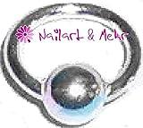 Fingernagel-/Nailart Piercing: Ring mit Kugel, 925er Sterling Silber, 4mm #NP-066