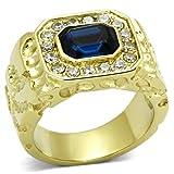 ISADY - Empire Gold - Herren-Ring - 585er 14K Gold platiert - Zirkonium Blau - T 70 (22.3)
