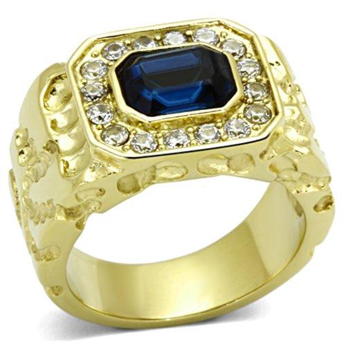 ISADY - Empire Gold - Herren-Ring - 585er 14K Gold platiert - Zirkonium Blau - T 62 (19.7)