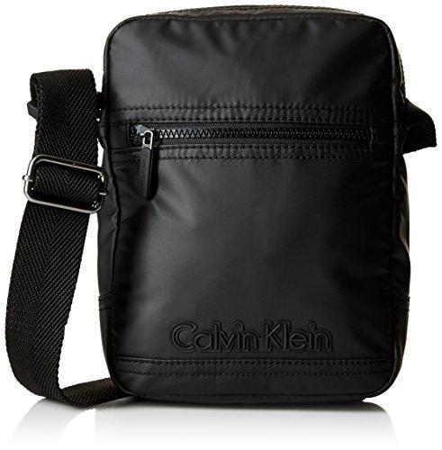 Calvin Klein Jeans Herren Metro Reporter Tasche, Schwarz (Black 001), 20x25x8 cm (Tasche Schulter Klein Leder Calvin)