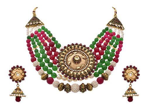 514a4bbec90d6 JFL - Traditional, Ethnic, Antique One Gram Gold Plated Bead Pink ...