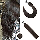 Ugeat 20 Pouces I Tip Extensions cheveux natureles #2 Plus Sombre Bruns Raides Pre Bonded Bresilien Cheveux Humains Extensions
