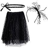80' s Costume Accessori Set, Includere Cerchietto Fiocco Nero, Gonna di Pizzo e Cintura Sottile per Le Donne e Le Ragazze