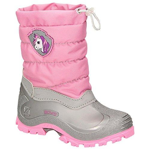 BOWS® -LEO- Mädchen Jungen Winter Stiefel Schnee Schuhe gefüttert Einhorn Unisex Kinder Winterboots Warmfutter Schurwolle auch als Limited Unicorn Edition, Schuhgröße:29, Farbe:rosa (Rosa Mädchen Stiefel)