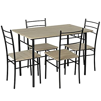 Marko Furniture Casablanca 5PC Dining Table 4 Chairs Dining Set Kitchen Furniture Metal Frame Bistro Set - inexpensive UK light store.