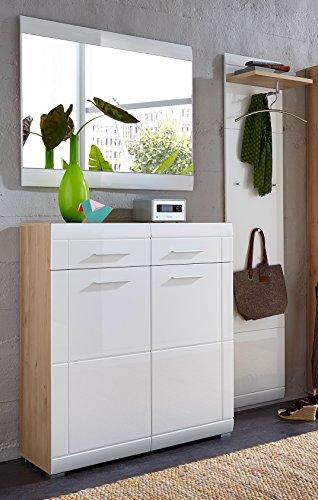 Germania 8703-231 GW-Neapel Garderoben-Set, tiefgezogene MDF mit Rillenfräsung, beschichtete Spanplatte, edelbuche-nachbildung  weiß, 37 x 145 x 197 cm