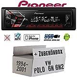 VW Polo 6N + 6N2 - Autoradio Radio Pioneer MVH-S100UI - | MP3 | USB | Android | iPhone Einbauzubehör - Einbauset