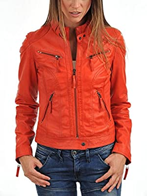 Royal Outfit Genuine Lambskin Real Leather Slim Fit Biker Jacket of Women's - Orange
