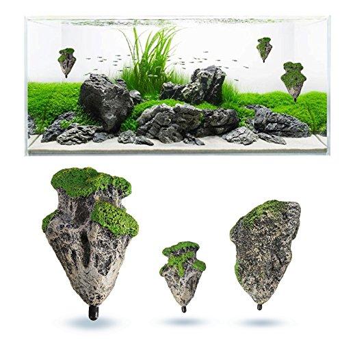 SymbolLife 2pcs Aquarium Verzierung Dekoration Schwimmenden Felsen Ausgesetzt Steine Künstlich (1x Klein + 1x Medium) -
