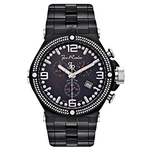 Jojo y Joe Rodeo Phantom para hombre reloj de diamantes 2.25Ct de color negro