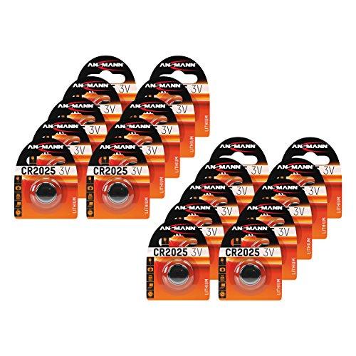 ANSMANN 20x CR2025 Batterie Lithium Knopfzelle 3V/Qualitativ hochwertige Knopfbatterien/Ideal für Autoschlüssel, TAN-Gerät, Taschenrechner, Kinderspielzeug, Fernbedienung, Uhren, etc.