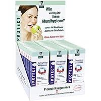BADERs PROTECT Zahnpflege Kaugummi aus der Apotheke. Display mit 24 Packungen. Je Packung 16 Kaugummi-Quadrate. Zuckerfrei mit Xylit. Pharmazentralnummer: 04451478