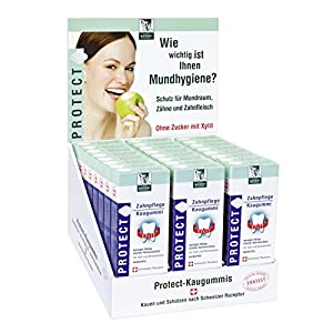 BADERs PROTECT Zahnpflege Kaugummi aus der Apotheke. Display mit 24 Packungen. Je Packung 16 Kaugummi-Quadrate. Zuckerfrei mit Xylit. PZN 04451478