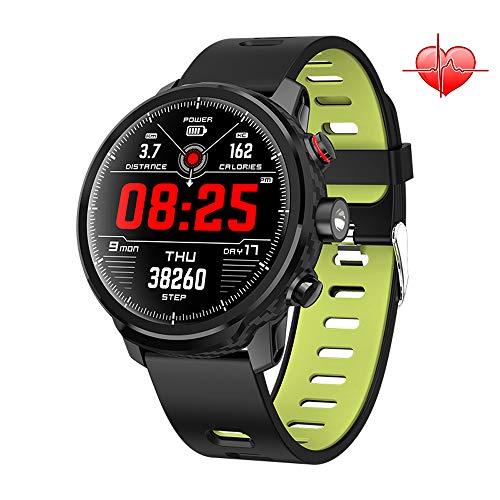 Smartwatch Intelligente IP68 Wasserdicht Armbanduhr mit 1,3 Zoll OLED-Display LED Taschenlampe Herzfrequenzsensor (Android Wear, Wear OS by Google, NFC) Sportuhr Kompatibel mit Android und ios (Grün)