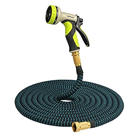 [Brass Connectors] 50 ft Expandable Garden Hose with 9 Function Spray Gun (No Kink)