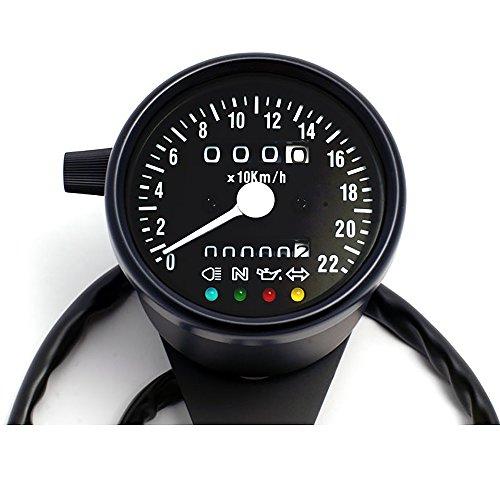 Mini-Tacho 60 mm schwarz mit Kontrollleuchten schwarzes Ziffernblatt