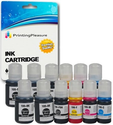 Printing Pleasure 105 106 Pack 12x Bouteille d'encre pour Epson EcoTank ET-7700, ET-7750 | 105 106 C13T00Q140 C13T00R140 C13T00R240 C13T00R340 C13T00R440