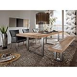 SalesFever - Mesa de comedor de madera de roble maciza engrasada, patas de acero, 220 x 100 x 78 cm