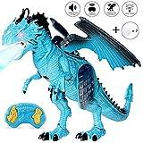 Joylink 0062_05, Fernbedienung Dinosaurier Spielzeug mit Gehen, Simuliertem Brüllen, Sprühen, Kopfschütteln, Blue