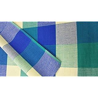 Ashley Mills Set von 4Luxus gewebt 100% Baumwolle Gerippte Platzsets/Quaste Tisch modernes Design Green Yellow Blue Check