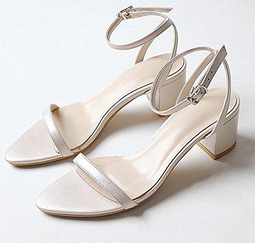 Bequeme dick mit weiblichen Sandalen offene Schuhe mit dem Fischkopf apricot
