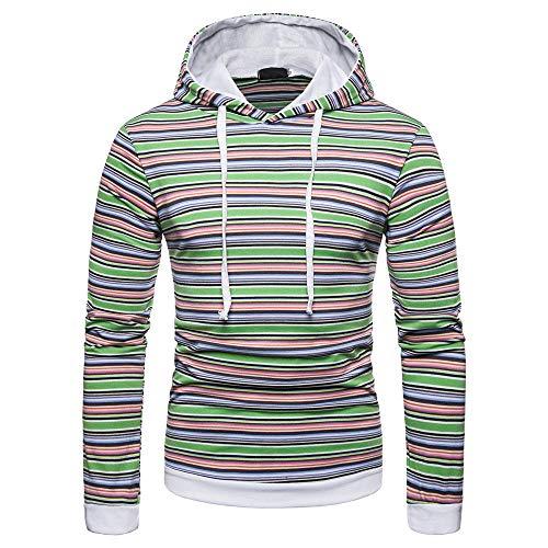 Herren Hoodie,TWBB Horizontale Streifen Pullover Kapuzenpullover Schlank Lange Ärmel Mantel Outwear Hemd