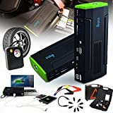 Indigi® Most Powerful Portable Car Jump Starter Power Bank Flat Tire Compressor Air Pump Station - ideal choice for long driving, camping, hiking, biking, traveling etc
