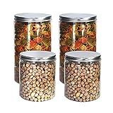 Pack 4 barattolo di plastica alimentare, 0,95 L (12x10cm) e 1,3 L (18x10cm), contenitori con coperchi in alluminio a vite.