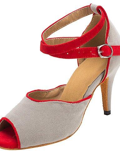La mode moderne Sandales femmes personnalisables Latin/Salsa/Ballroom Dance Shoes sandales talon flocage personnalisé professionnel/gris à l'intérieur US4-4.5/EU34/UK2-2.5/CN33