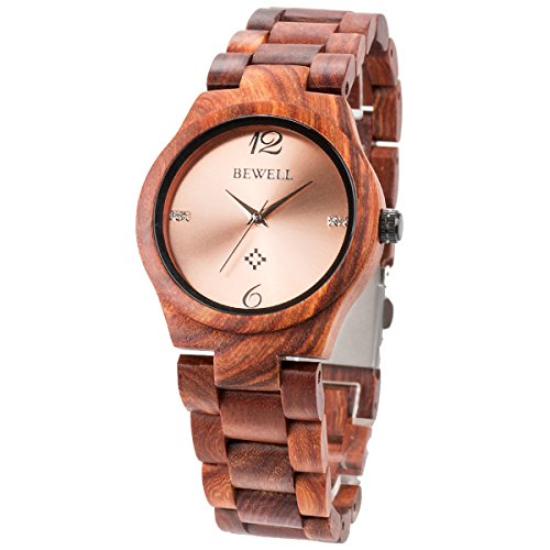 Alienwork Damen-Armbanduhr Quarz rot mit Holz-Armband Rose-Gold Holzuhr Natur-Holz - 2