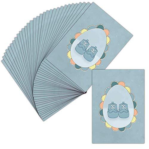 Carte Faire-Part Naissance Garçon - Carte Postale - 32 Cartes - Carte Petits Pieds De Bébé En...