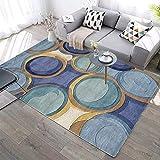 QYDF rug Tradizionale di Facile Manutenzione Carpet I Cerchi Blu-Marroni Si sovrappongono Tappeto di Design Moderno,Blu,160x200cm