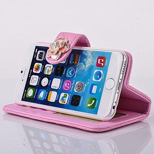 """inShang Hülle für Apple iPhone 6 Plus iPhone 6S Plus 5.5 inch iPhone 6+ iPhone 6S+ iPhone6 5.5"""", Cover Mit Modisch Klickschnalle + Errichten-in der Tasche + GRID PATTERN, Edles PU Leder Tasche Skins E camellia pink"""