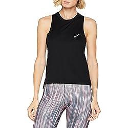 Nike W Dry Miler Tank Top, Mujer, Negro, L