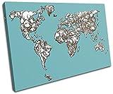 Bold Bloc Design - Animal Kids Nursery World Maps Flags 60x40cm SINGLE Leinwand Kunstdruck Box gerahmte Bild Wand hangen - handgefertigt In Grossbritannien - gerahmt und bereit zum Aufhangen - Canvas Art Print