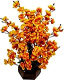 #4: Bageecha Garden's Artificial Blossom Flower with Wooden Vase(10 inchs/ 25 cms) For Indoor And Outdoor Decoration Of Your Office and Home (Yellow)
