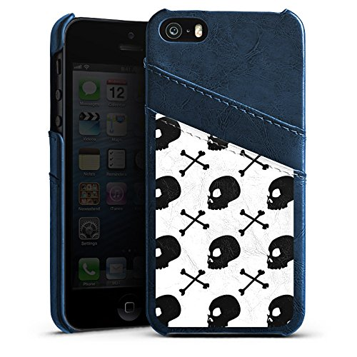 Apple iPhone 4 Housse Étui Silicone Coque Protection Têtes de mort Noir et blanc Motif Étui en cuir bleu marine