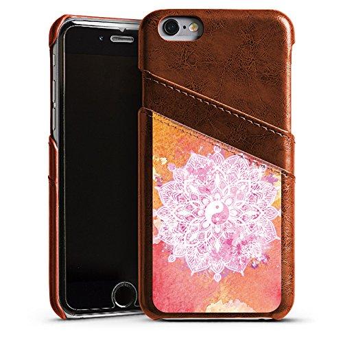 Apple iPhone 5s Housse Outdoor Étui militaire Coque Yin Yang Été Étui en cuir marron