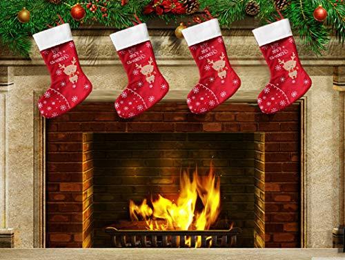 Topanke set da 4 camino calza di natale, 35m x 30cm elk calze natalizie da appendere candy sacchetti regalo per albero di natale festa di natale decorazioni
