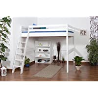 Preisvergleich für Kinderbett Hochbett Christoph Buche Vollholz massiv weiß lackiert inkl. Rollrost - 140 x 200 cm
