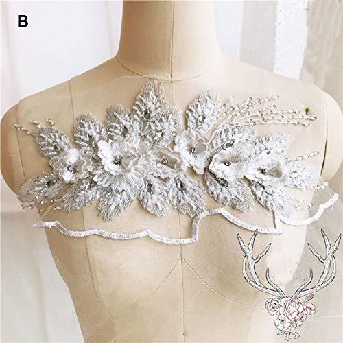 1 Stück 8 Farben Blüten-Spitze Applikation mit Strass-Pailletten Spitze Floral Nähen auf Hochzeit...