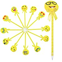 6 Yellow Emoji Face Soft Cushion & Bow Topped Ball Point Pens