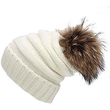 Tongshi Unisex Slouchy Tejer Beanie Hip Hop casquillo caliente del invierno del sombrero del esquí (Blanco)