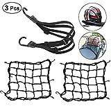 Hmjunboys Filet à Bagages Elastique 2Pcs (40 X 40cm) et Sangle Bagage Elastique 60cm 1Pcs avec Crochets pour Vélo Moto Fixer Casque Bagage Sac Cartable Filet Transport Noir