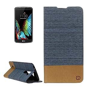 Casse del telefono mobile & Cover, Modello LG K10 Canvas PU + TPU del cuoio di vibrazione orizzontale con il supporto e slot per schede ( Colore : Blu )